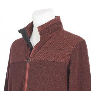 ExOfficio Full Zip Burgundy Black Sweater Jacket